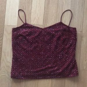 Ann Taylor Petites Red Sequin Tank Top 2P